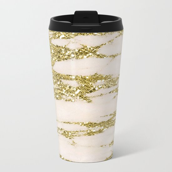 Marble - Gold Marble Glittery Light Pink and Yellow Gold Metal Travel Mug