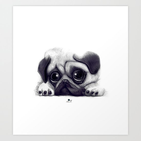 Pug Pug 02 Art Print