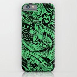 Hawaiian - Polynesian Teal Tropical Print iPhone Case