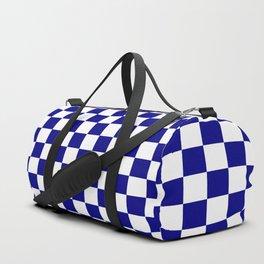 Blue White Boxes Design Duffle Bag