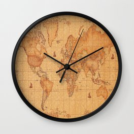 World Map LeaTher Wall Clock