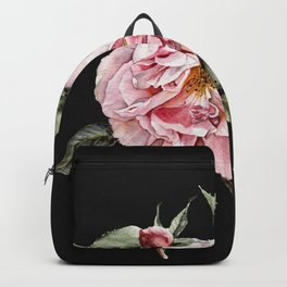 Wilting Pink Rose Watercolor on Charcoal Black Backpack
