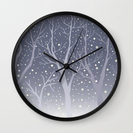 Winter Trees Background. Winter landscape with trees, snow Wall Clock