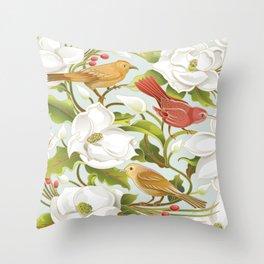 Magnolia/ Birds Throw Pillow