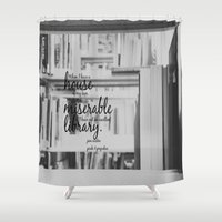 jane austen Shower Curtains featuring Jane Austen Library by KimberosePhotography
