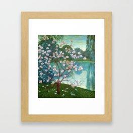 Springtime Pink Magnolias by the Kettle Pond landscape by Wilhelm List Framed Art Print