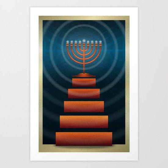 Art Deco Hanukkah Menorah Art Print