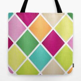 Modern Diamond Geometric Pattern Design // Pink Orange Green Blue Tote Bag