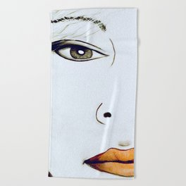 1980's Retro Art L A Face Drawing Beach Towel