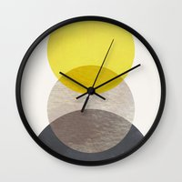 sun and moon Wall Clocks featuring SUN MOON EARTH by Georgiana Paraschiv