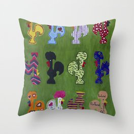 Roosters Throw Pillow