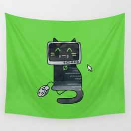 Programmer cat  makes a website Wall Tapestry