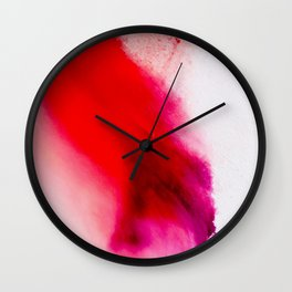 Slow Burn: simple abstract ink on paper in red, purple, and pink Wall Clock
