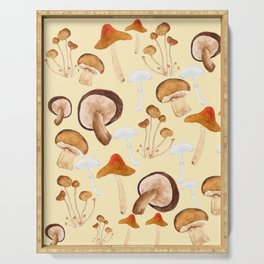 mushroom pattern watercolor painting Serving Tray