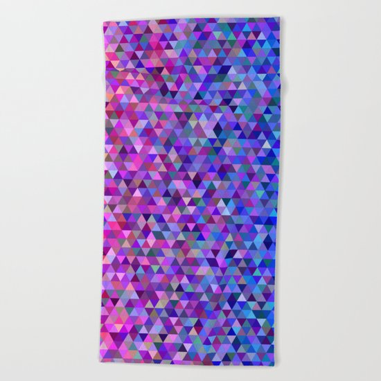 Pink and blue triangles Beach Towel