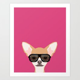 Misha with Glasses - Aviator glasses, hipster glasses, chihuahua, dog, cute, pet, cute dog Art Print