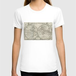 Vintage Map of The World (1708) 2 T-shirt