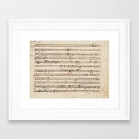 mozart Framed Art Prints featuring Mozart by Le petit Archiviste