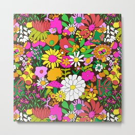 60's Groovy Garden in Chocolate Brown Metal Print