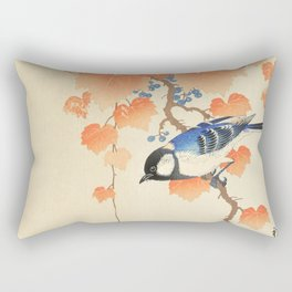 Colorful bird sitting on a tree branch - Japanese vintage woodblock print art  Rectangular Pillow