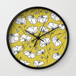 Yellow Flow Spring Florals Wall Clock