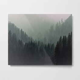Mt Shasta Forest in Shades of Green Metal Print