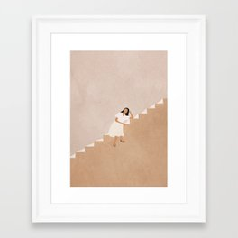 Girl Thinking on a Stairway Framed Art Print