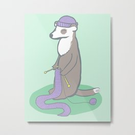 Knitting Ferret Metal Print