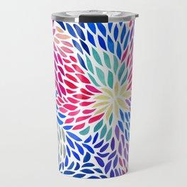 Flowing Leaves Purple & Blue Pattern Travel Mug