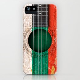 Old Vintage Acoustic Guitar with Bulgarian Flag iPhone Case
