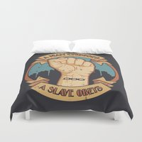 bioshock infinite Duvet Covers featuring Bioshock a man, a slave by sgrunfo