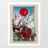 sakura Art Prints featuring Sakura by Claudia SGI