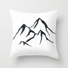 MOUNTAINS Black and White Throw Pillow