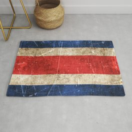 Vintage Aged and Scratched Costa Rican Flag Rug
