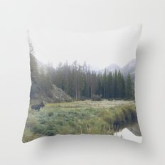 Morning Meadow Moose Throw Pillow