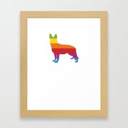 Think German Shepherd LGBT Rainbow Flag Gay Pride Framed Art Print
