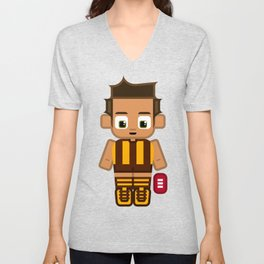 Super cute sports stars - Brown and Gold Aussie Footy Unisex V-Neck
