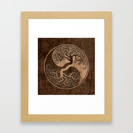 Rough Wood Grain Effect Tree of Life Yin Yang Framed Art Print