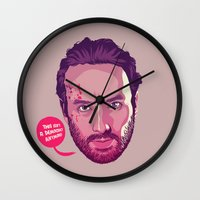 rick grimes Wall Clocks featuring The Walking Dead - Rick Grimes by Mike Wrobel