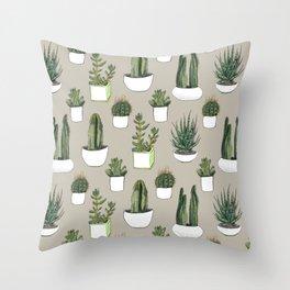 Watercolour cacti & succulents - Beige Throw Pillow