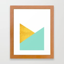 Gold & Aqua Blue Geometry Framed Art Print