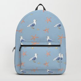 Seagull with Sea stars Watercolor Design Backpack