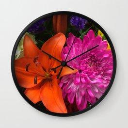 Rainbow of Flowers Wall Clock