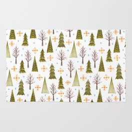 woodsy winter pattern Rug