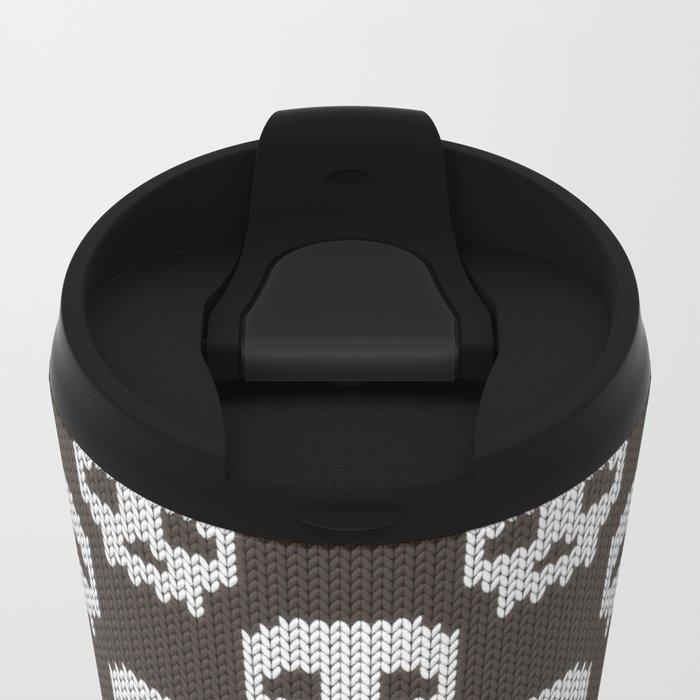 Knitted skull pattern Metal Travel Mug