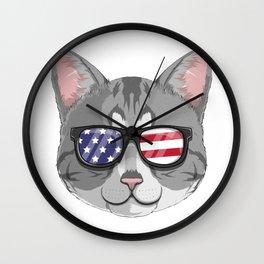 Patriotic American Shorthair Cat Kitty Merica American Flag Wall Clock