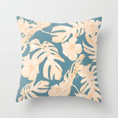 Island Vacay Hibiscus Palm Leaf Coral Teal Blue Throw Pillow