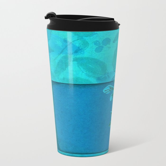 Teal paper flowers Metal Travel Mug