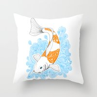 koi fish Throw Pillows featuring Koi fish  by Art & Be