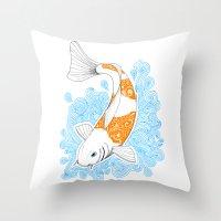 koi fish Throw Pillows featuring Koi fish  by Art & Be